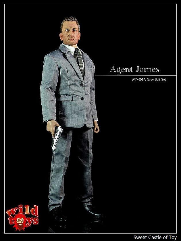 1 6 Wild Toys Action Figure - Agent James Grey Overcoat Suit Set WT-24A 007
