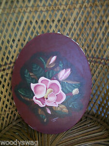 OOAK-Local-Artist-Missouri-Magnolia-Oil-Painting-Signed-Country-Shabby