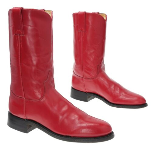 JUSTIN Cowboy Boots 6 A Womens RED Leather Western