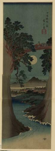 Koyo saruhashi no zu,Hiroshige Ando,Photo of Ukiyo-e,Japan,Cliffs,Bridge,Moon