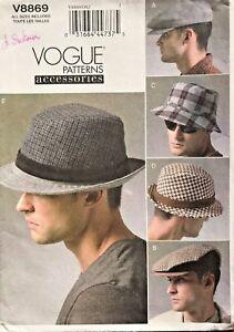 9d17c8d3b7 Image is loading VOGUE-Men-039-s-Hats-Pattern-V8869-Size-