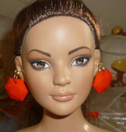 Orange Octagon-Shape Facted Earrings for American Model 22 in Doll