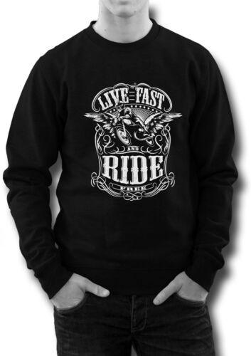 Biker Motorcycle rockabilly cafe racer men sweatshirt live fast ride free