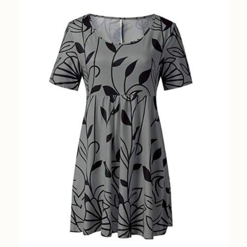 Womens Round Neck Short Sleeves Loose High Waist Swing Midi Dresses Plus Size