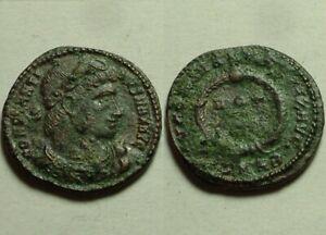 Draped bust Constantine/Rare genuine ancient Roman coin wreath 329 AD Heraclea