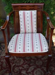1910s-Antique-English-Sheraton-Mahogany-inlaid-Armchair-New-Upholstery-amp-Belt