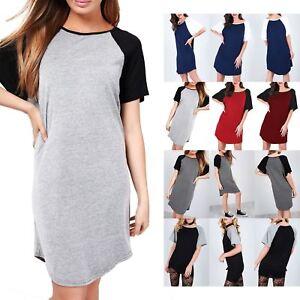 Womens Ladies Contrast Rock America Turn Up Sleeve Oversized Long T Shirt Dress