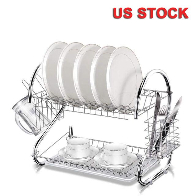 Metal Dish Drying Rack.2 Tier Multi Function Stainless Steel Dish Drying Rack Cup Drainer Strainer