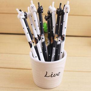 Practical-2Pcs-Cute-Cat-Kawaii-Fun-Black-Gel-Ink-Roller-Ball-Point-Pen-School