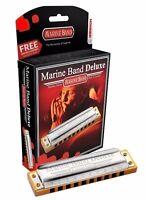 Hohner Harmonica Marine Band Deluxe Key Of C + Free Mini Harp - M2005bx-c on sale