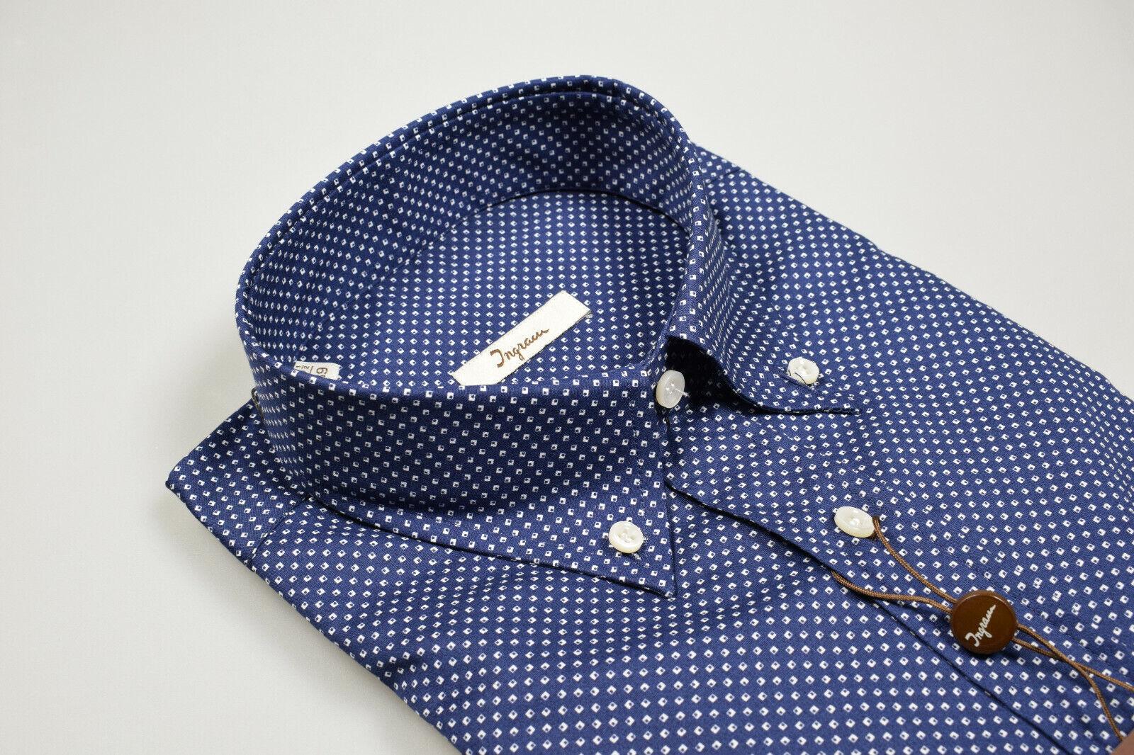 Camicia Ingram Blau Regular Fit Collo Button Down Cotone con disegno Stampato