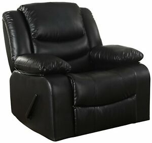 Awe Inspiring Details About Classic Bonded Leather Upholstered Rocker Recliner Living Room Chair In Black Pdpeps Interior Chair Design Pdpepsorg