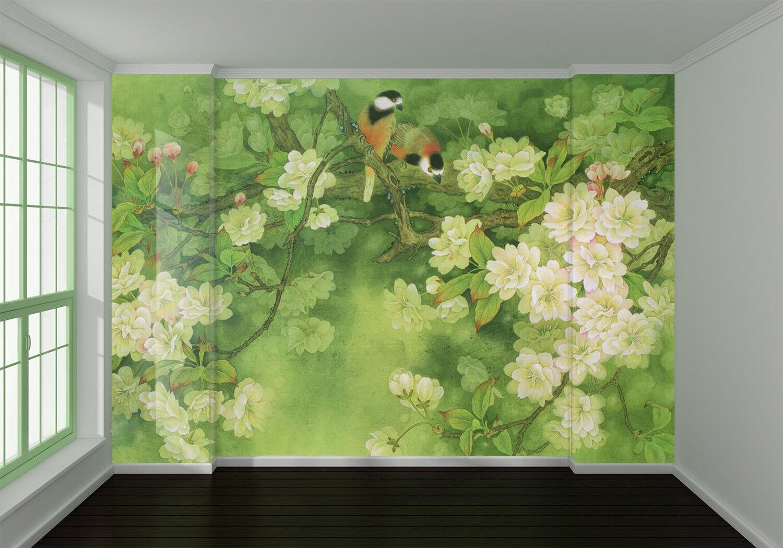 3D Grün Tree Bird 8 Wall Paper Murals Wall Print Wall Wallpaper Mural AU Summer