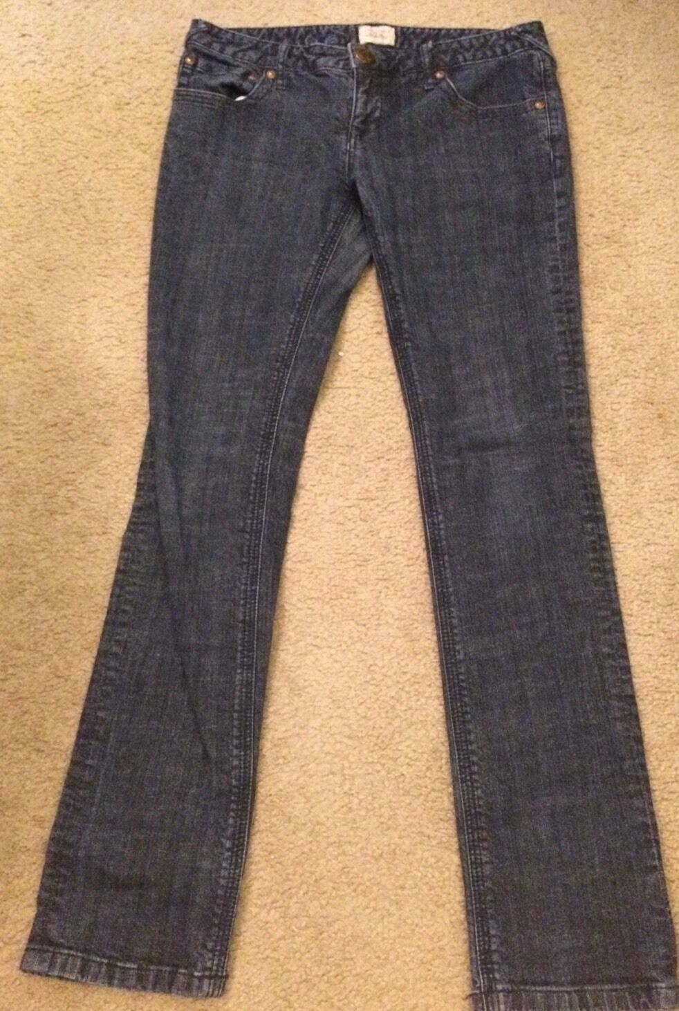 FREE PEOPLE Women's Denim Jeans Straight Slim Dark Wash Low Rise Sz 30 X 32