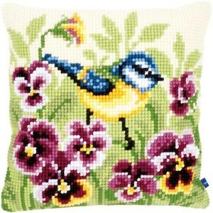 Vervaco Blue Tit On Pansies Cushion Cross Stitch Kit - 196997