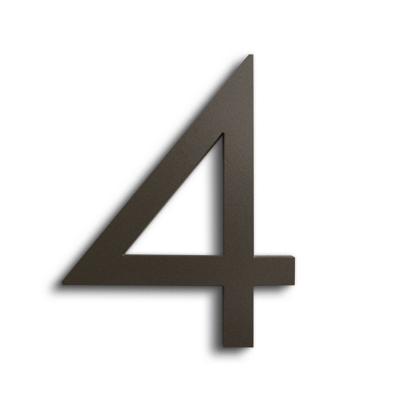 Modern House Number Bronze Farbe Aluminum Modern Font Number FOUR  4