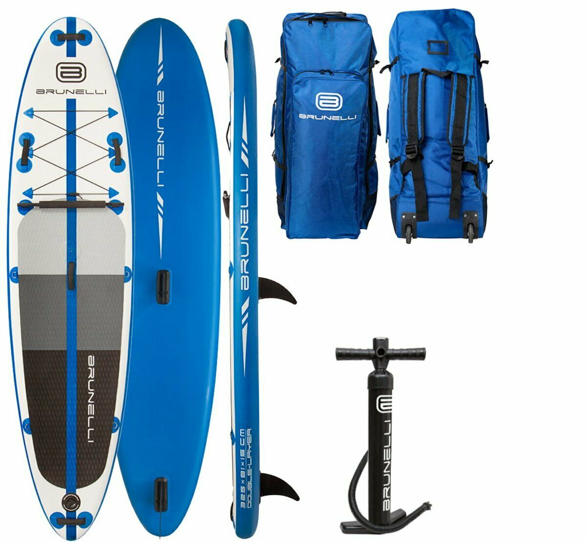 Brunelli 10.8 Windsurf Premium All-Round Sup Stand up Board bluee 325cm