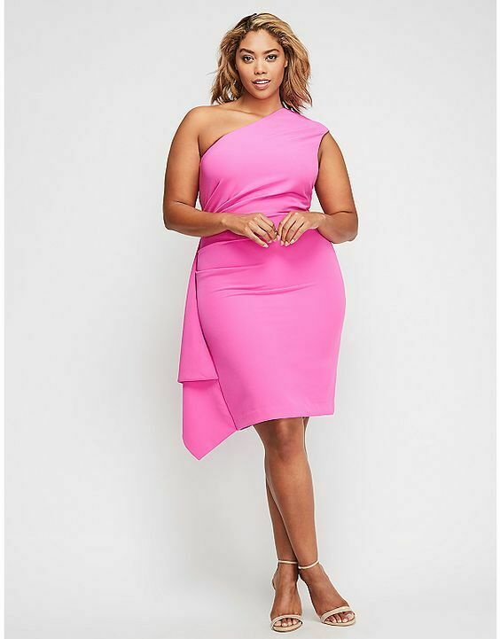 New CHRISTIAN SIRIANO for lane bryant one shoulder pink  dress 24w VACATION