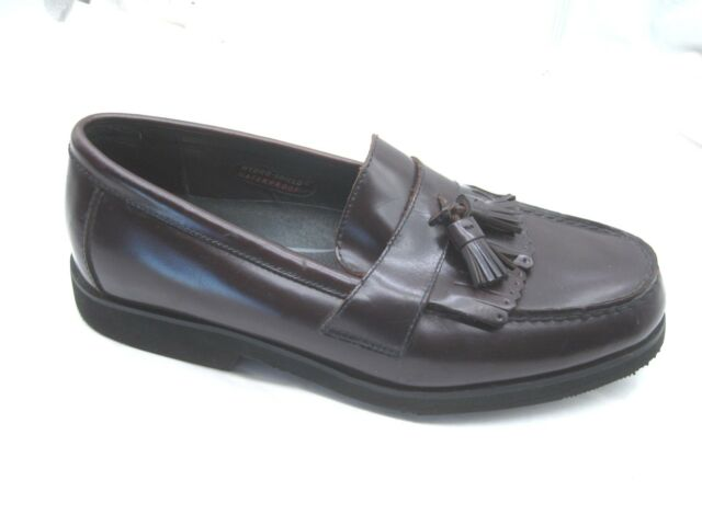 Rockport burgundy maroon waterproof tassel loafers Mens dress shoes 9M 503003