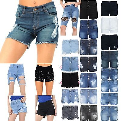 Gerade Womens Ladies Raw Edges Ripped Destroyed Faded Hot Pants Distressed Denim Shorts SchüTtelfrost Und Schmerzen
