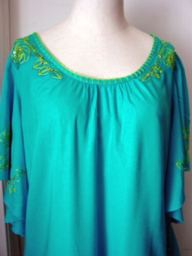 Women/'s Top Blouse Turquoise Krista Lee Papyrus Embroidery Butterfly Sleeves