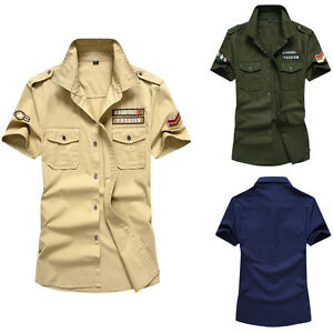 Military-Style-New-Men-039-s-Cotton-Fashion-Casual-Slim-Short-Sleeves-Shirts-XD119