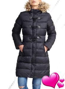 Mujer-Abrigo-Acolchado-Chaqueta-de-las-senoras-Negro-Piel-Parka-Talla-8-10-12-14