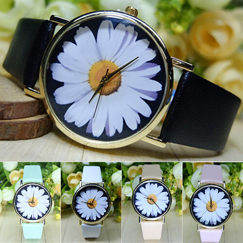 Women's Lady's Daisy Wrist Watch Quartz Analog Faux Leather Flower Gorgeous Gift