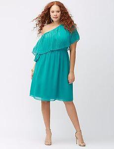 b13e8b9c425 Lane Bryant Teal BLUE Pleated One Shoulder Dress Plus Size 18 20 22 ...