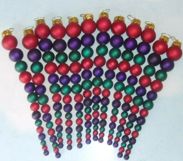 Lot 12 Dark Red, Purple & Dark Green Beads Christmas ...
