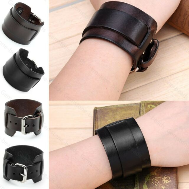 Punk Men Women Wide Genuine Leather Belt Bracelet Cuff Wristband Bangle Fashion