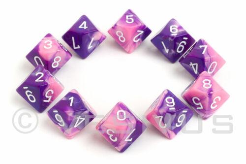 DICE Chessex Gemini PINK PURPLE 10d10 d10 Set Marble Shiny RPG 26255 Neon Girl