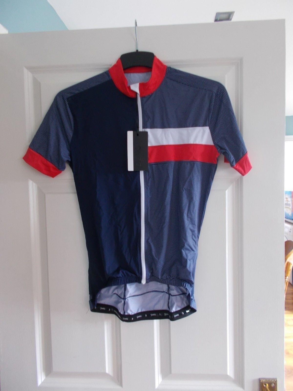 New Rivelo Herren Peaslake Short Sleeve Zipped Radfahren Jersey, Navy rot, Größe S