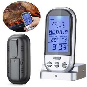 Digital-Wireless-Barbecue-BBQ-Meat-Thermometer-Remote-Grill-Cooking-Probe-HOT-DF