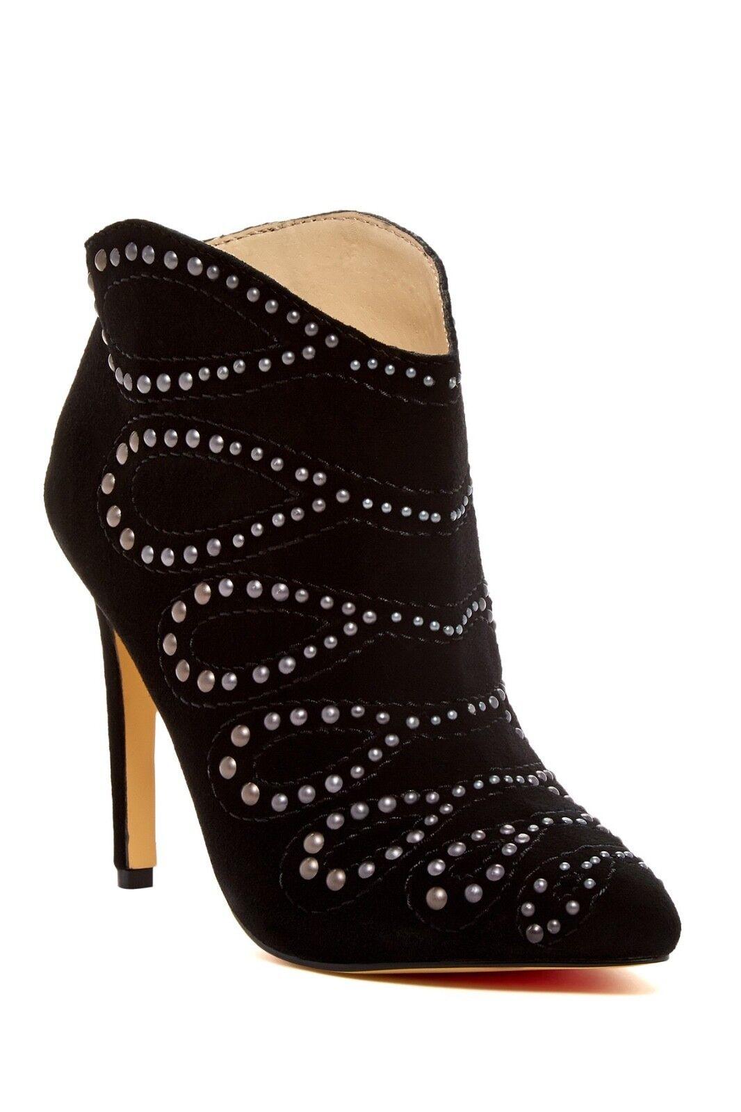 NIB Joe's Jeans Scout Studded Suede Stiletto Heeled Fashion Booties Black - Sz 8