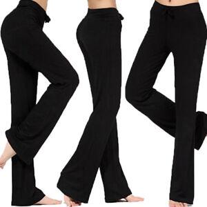 Womens-Yoga-Athletic-Foldover-Waist-Band-Fitness-Gym-Pants-Flared-Leg-M-3XL-S983