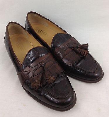 Johnston & Murphy Cellini Leather Loafers Men's Size 12M Dark Brown Croc Pattern