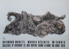 """RAYMOND MORETTI : OEUVRES RECENTES CANNES 1974"" Affiche originale entoilée"