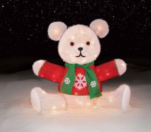 Outdoor Christmas Lighted Chenille Teddy Bear Sculpture Yard Lawn Decor
