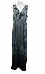NEW Maxi Dress Size M 8 10 Tie Dye BLACK Lace Back Knit Long ONE WORLD Energe