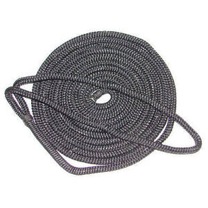 5//8 Inch x 35 Ft Black Double Braid Nylon Mooring and Docking Line for Boats