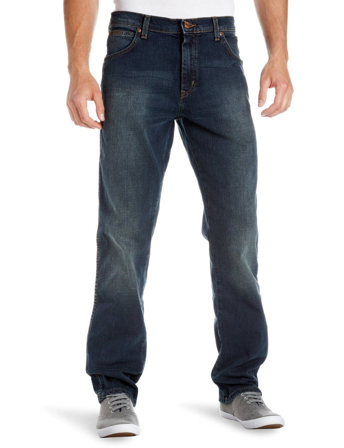 Wrangler Texas Regular Fit Stretch Jeans Dark bluee New Men's Vintage Tint Faded