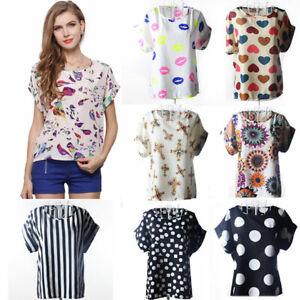 Women-Chiffon-Casual-T-Shirt-Tops-Short-Sleeve-Blouse-Floral-Summer-Tee-Shirts