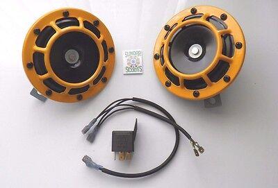 NEW Hella 12v Sharptone Dual Car Horn Set Bmw Yellow Panther Benz