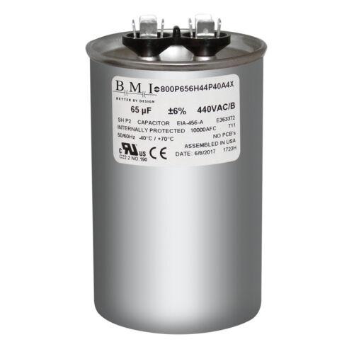 65 MFD x 370 440 VAC Round Run Capacitor BMI 800P656H44P40A4X Made in the USA