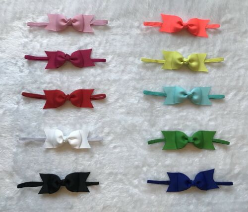 Details about  /10Pc Kid Girl Baby Infant Toddler Bow Skinny Elastic Headband Hair Band Headwear