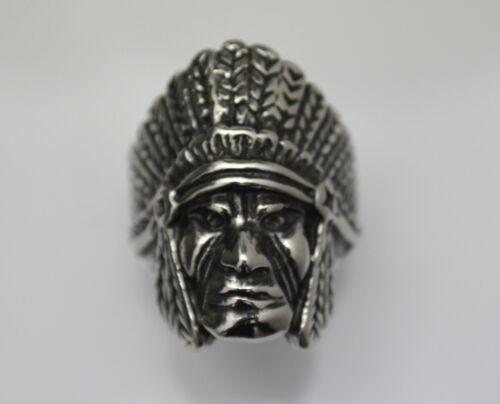 bague acier chef indien plume , Bikers,USA,Custom ,country 13 gr,