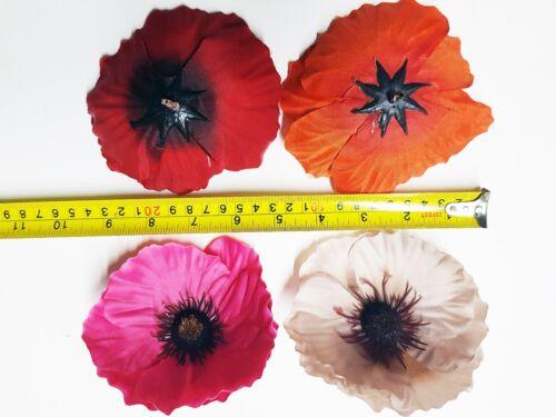 Seda artificial de un solo amapola cabezas de flores sólo Crafts Decoraciones muestra 12cm