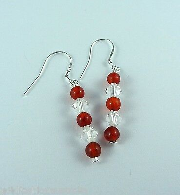 Red Long Dangle Earrings Silver Plated Hand made