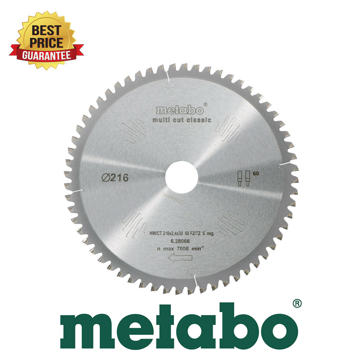 Metabo Circular Saw Blade HW/CT 216x30, 60 FZ/TR 5 ° NEG. suitable for KGS 216